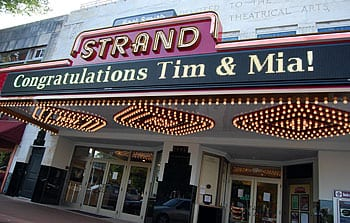 The Strand celebrates new marriages with a marquee announcement.